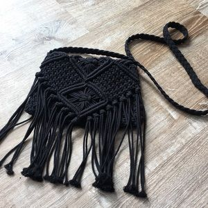 Black Macrame Over the Shoulder Festival Bag